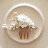Bridal hair comb handmade weddings - Delicate bridal hair comb Ivory hair comb