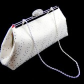 Ivory and Coral Rhinestone Bridal Clutch