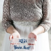 Monogrammed Keepsake with You're Next toss garter
