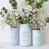 Muted Hues Painted Mason Jars