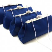 Set of Four Navy Blue and Silver Bridesmaid Gift Clutches