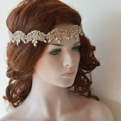 Bridal Headband, Wedding Headband, Rhinestone and Lace Headband