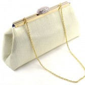 Cream Crinkle and Navy Blue Bridal Clutch