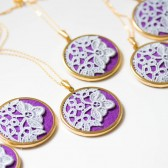 Grey and purple lace necklace for bridesmaids
