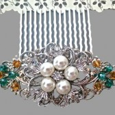 Bridal Pearl Crystal Comb Wedding Pearl Crystal Hair Comb Vintage Style Hair Accessory Amber Emerald Green Crystal Silver Ivory