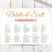Golden Glitter Seating Chart - Gold & Soft Pink
