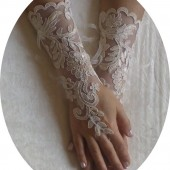 Free shipping Long raw silk color glove Ivory frame Wedding gloves bridal lace gloves fingerless gloves french lace gloves