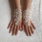Free ship cappuccino Wedding gloves beaded pearl free ship bridal gloves fingerless lace gloves cappuccino gloves french