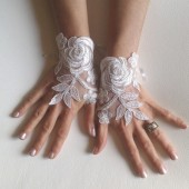 White or Ivory Wedding gloves bridal gloves lace gloves fingerless gloves ivory gloves french lace gloves free ship