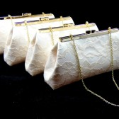 Ivory, Champagne and Yellow Bridesmaid Gift Clutch Set