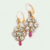 Bridal Gold Earrings Rhinestone Wedding Earrings Pink Ivory White Drop Teardrop Pearl Gold Crystal Flower