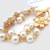 Bridal Gold Bracelet Pearl, Ivory Pearl Gold Bridal Bracelet, Gold Ivory Pearl Bracelet, Bridal Jewellery, Gold Jewelry