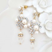 Statement Wedding Earrings Gold Bridal Earrings Pearl Rhinestone Earrings Chandelier Crystal Bride Statement Earrings Bridal Jewelry