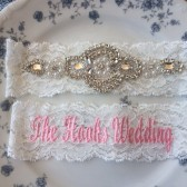 Pearl Rhinestone Keepsake Garter with Personalized Toss Garter