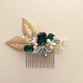 Emerald Green Gold Bridal Hair Comb