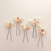Rose Gold hair pins Pearl hair pins bridal hair pins Wedding - Style HP05