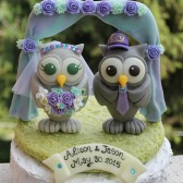 Owl wedding cake topper with chuppah, love birds, love bird cake topper, custom cake topper, bride groom figurines, personalized wedding, purple wedding