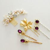 Vintage inspired hair pins Gold purple wedding bridesmaids gifts Party