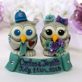 tattoo cake topper, tattooed wedding, owl cake topper, love bird cake topper, custom cake topper