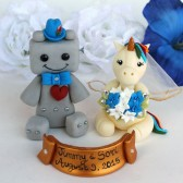 Unicorn and Robot cake topper, wedding cake topper, unicorn cake topper, robot cake topper, custom cake topper, bride and groom, bride groom figurines, cute cake topper, nerd cake topper, geek cake topper,
