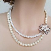 Pearl Bridal Necklace Wedding Rhinestone Pearl Necklace, Bridal Statement Necklace Vintage Inspired Brooch Classic Wedding Jewelry