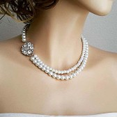 Bridal Necklace Pearl Jewelry, Wedding Necklace Bridal Jewelry, Pearl Rhinestone Necklace, Bride Necklace