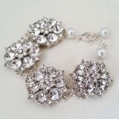 Rhinestone Bridal Bracelet Statement Wedding Bracelet Jewelry Crystal Flowers, CHLOE