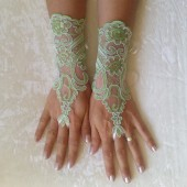 Peridot green ivory frame Wedding Gloves, lace gloves, Fingerless Glove,wedding gown, UNIQUE Bridal glove, wedding bride, bridal gloves