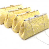 Champagne, Yellow Lace and Navy Blue Bridesmaid Gift Set