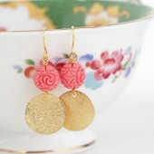 Coral Pink Gold Disk Earrings