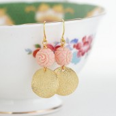 Pale Pink Beaded Gold Disk Earrings