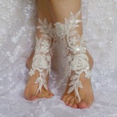 ivory beaded lace barefoot sandal beach wedding beadwork