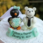 penguin cake topper, polar bear cake topper, winter wedding, winter cake topper, custom cake topper