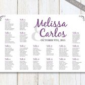 Wedding Seating Chart ideas - Purple & Silver