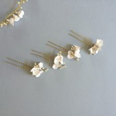 Mira Bridal Hair Pins white flower pins handmade Weddings - Style HP04