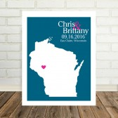 state map, wedding map, wedding gift, state artwork, couples gift