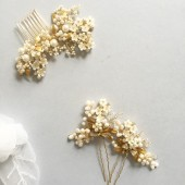 Damini Bridal Hair Pins ivory gold wedding