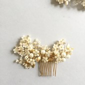 Damini Bridal Hair comb Ivory Gold wedding