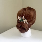 Emerald hair comb Pearl Hair comb Golden hair comb Bridal hair comb Wedding