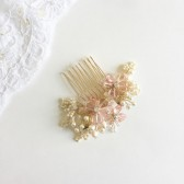 Bridal Hair Comb Cherry Blossom Spring Wedding Pink & gold wedding