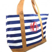 Monogram Navy Stripe Tote Bag