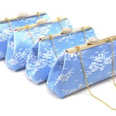 Set of Four Serenity Blue, White and Rose Quartz Bridesmaid Clutch Set