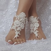 beaded barefoot sandals, white bridal lace sandals, barefoot sandal, beach accessories, lace anklets, beach party, bellydance