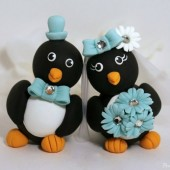 Touching heads penguin cake topper,custom cake topper, wedding cake topper, cute cake topper, bride groom figurines, personalized wedding, hand made cake topper, animal cake topper, wedding keepsake, turquoise wedding, baby blue wedding