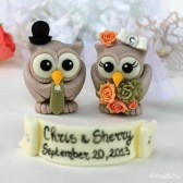 Owl wedding cake topper, love birds, custom cake topper, wedding cake topper, owl cake topper, love bird cake topper, personalized wedding, cute cake topper, hand made cake topper, succulent bouquet, desert wedding