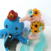 Octopus and seahorse cake topper, wedding cake topper, custom cake topper, sea wedding, beach wedding, beach cake topper, sea cake topper, fish cake topper, hand made cake topper