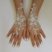 Ivory gold frame wedding gloves bridal gloves lace gloves fingerless gloves ivory gloves free ship