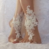 Free ship white or ivory Beach wedding barefoot sandals wedding shoes prom party steampunk bangle beach anklets bangles brid bridesmaid gift