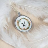 Personalized Necklace with initial - Spring Necklace - Bridesmaid Personalized Necklace - Wedding Gift - Flower Wreath Pendant