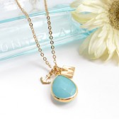 Turquoise Mint Blue Initial Necklace